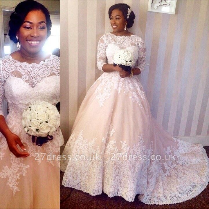 Modest 3/4 Sleeves Lace Wedding Dresses UK Scalloped-Edge Court Train Bridal Gowns
