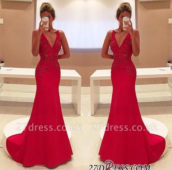 Long V-Neckline Sleeveless Appliques Red Two-Straps Prom Dress UK BA4462