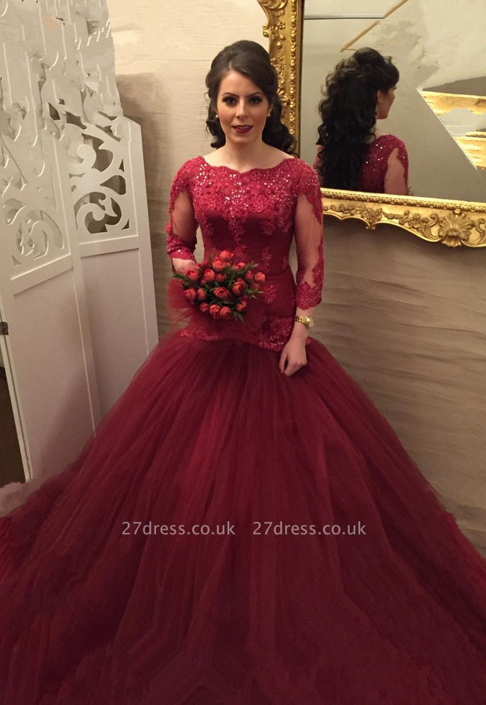 Modern Lace Red Mermaid Evening Gown | Long Sleeve Evening Dress UK