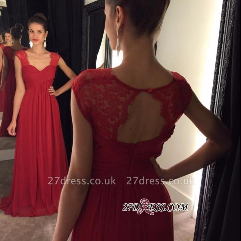Red A-line Cap-Sleeves Modest Chiffon Lace Floor-Length Prom Dress UKes UK