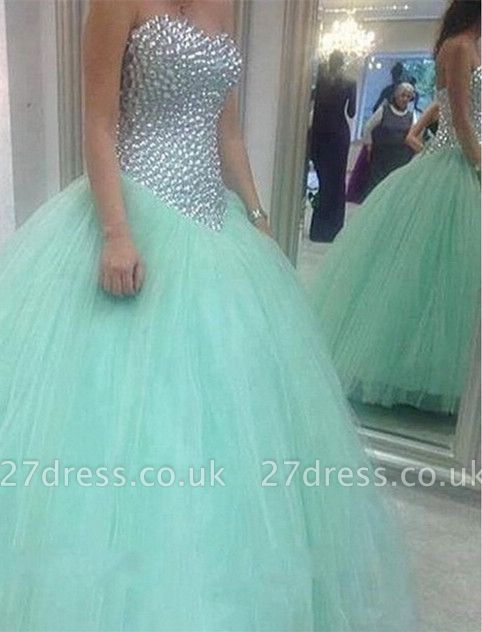 Elegant Sweetheart Mint Green Wedding Dresses UK Crystal Tulle Ball Gown Prom Gowns
