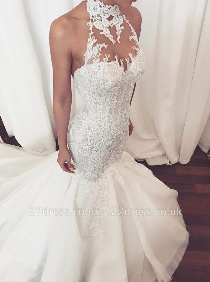 Stunning Halter Lace Wedding Dress | Sexy Mermaid 2019 Bridal Gowns On Sale