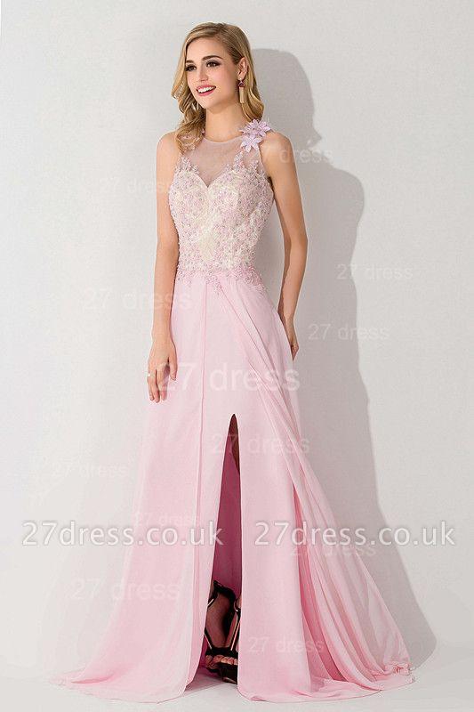 Sexy Flower Front Split Evening Dress UK Illusion Sleeveless