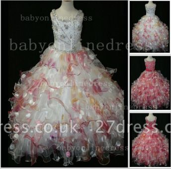 Floor-length Girls Pageant Dresses for Sale Inexpensive Colorful New Design Straps Beaded Gowns