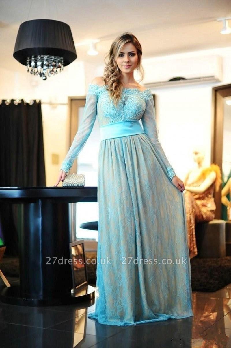 Delicate Lace Appliques Bowknot Evening Dress UK A-line Long Sleeve Zipper