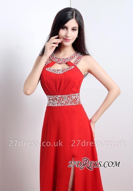 Modern Crystals A-line Front-Split Chiffon Prom Dress UK
