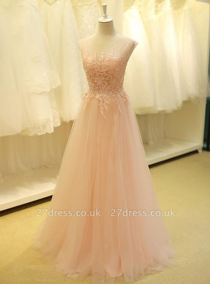 Lovely Color Cap Sleeve Tulle Prom Dress UK With Lace Appliques