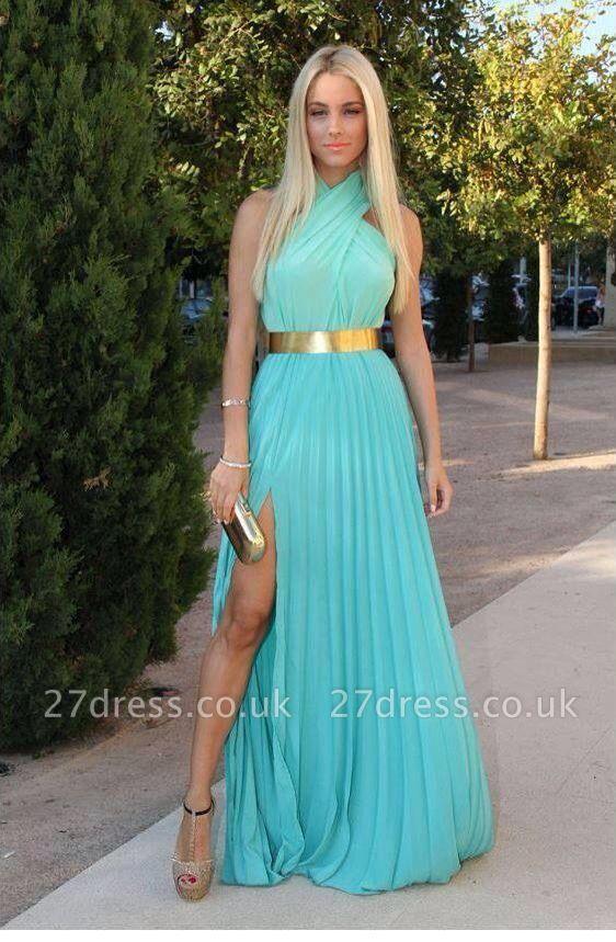 Halter Gorgeous Robe De Soiree A-line Prom Dress UKes UK Side Slit Halter evening gowns