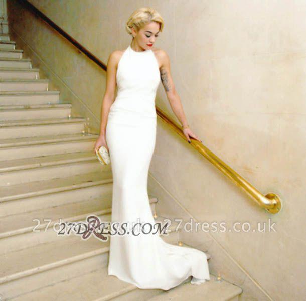 Modern A-line Halter Sleeveless White Prom Dress UK Floor-length