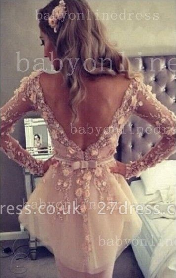 Lace Backless Long-Sleeve Sheath Dress UK V-Neck Waistband Gown With Bowknot