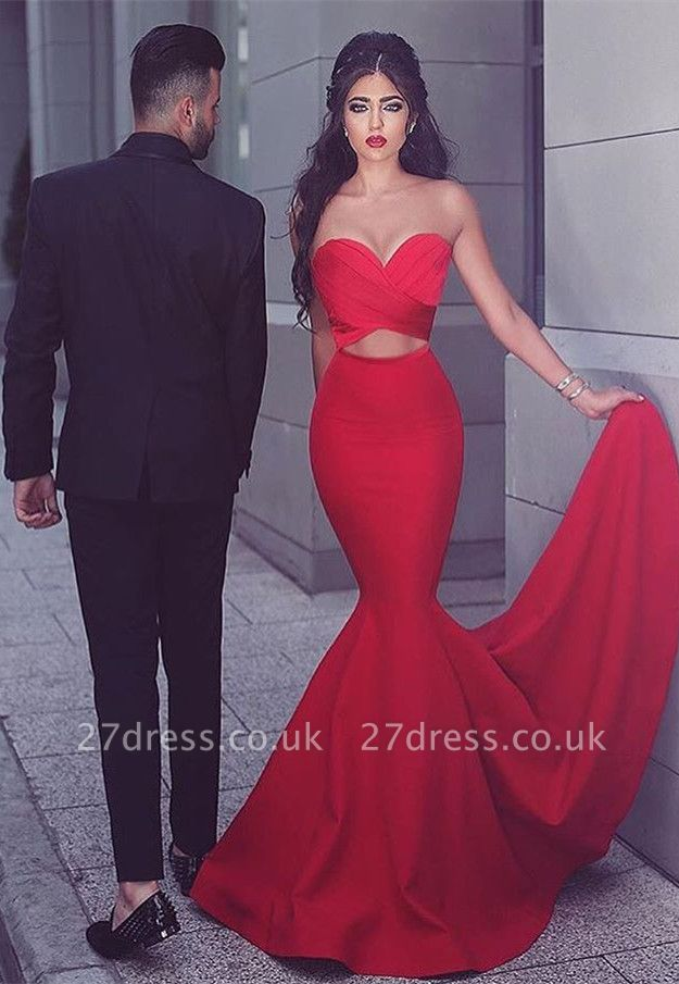 Elegant Red Mermaid Evening Dress UK Sweetheart Long MH204