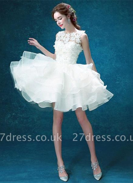 Pretty Sleeveless Appliques Homecoming Dress UK Short With Zipper Button Back