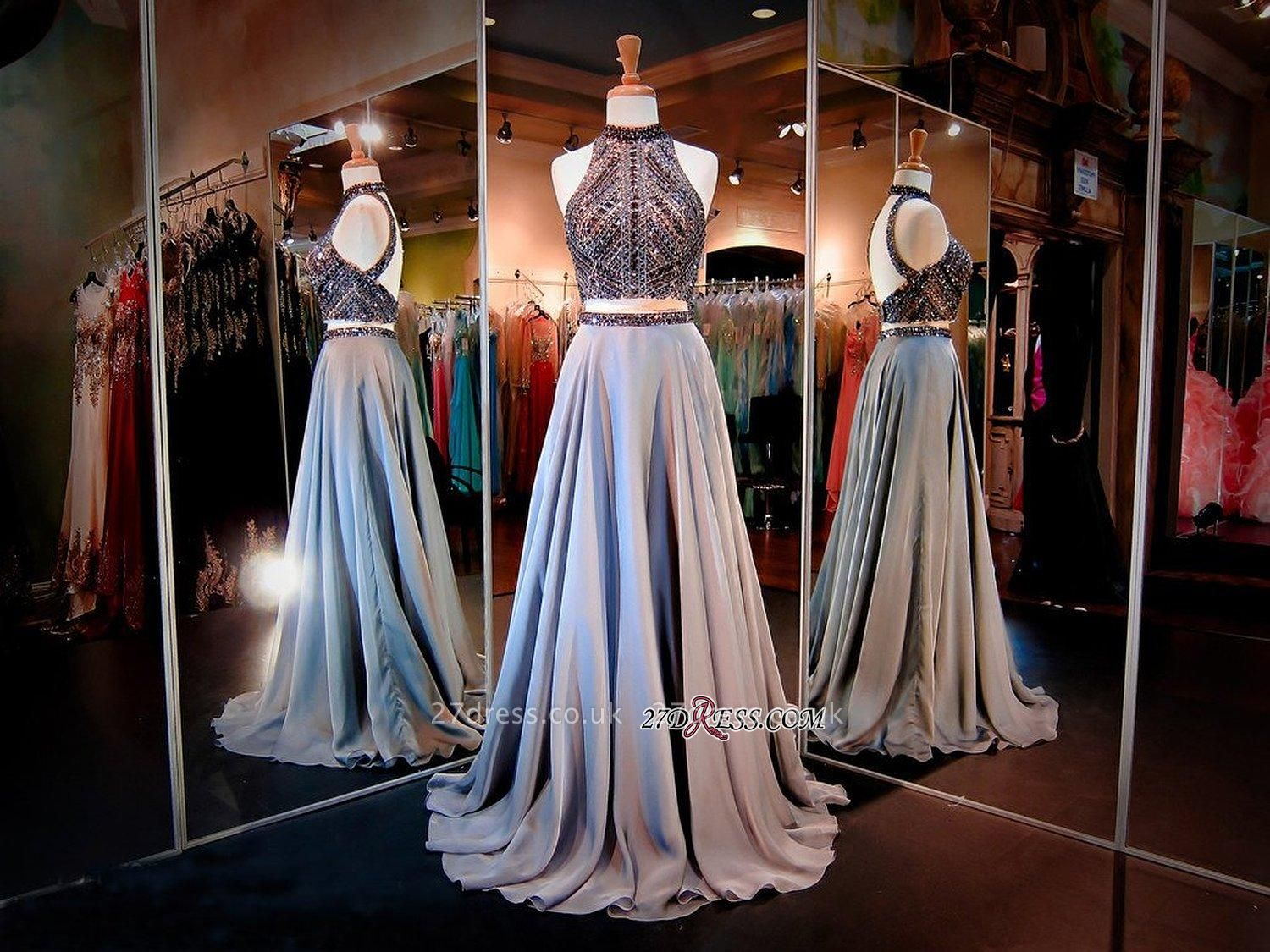 Luxury Crystals High-Neck A-line Two-Piece Evening Dress UK
