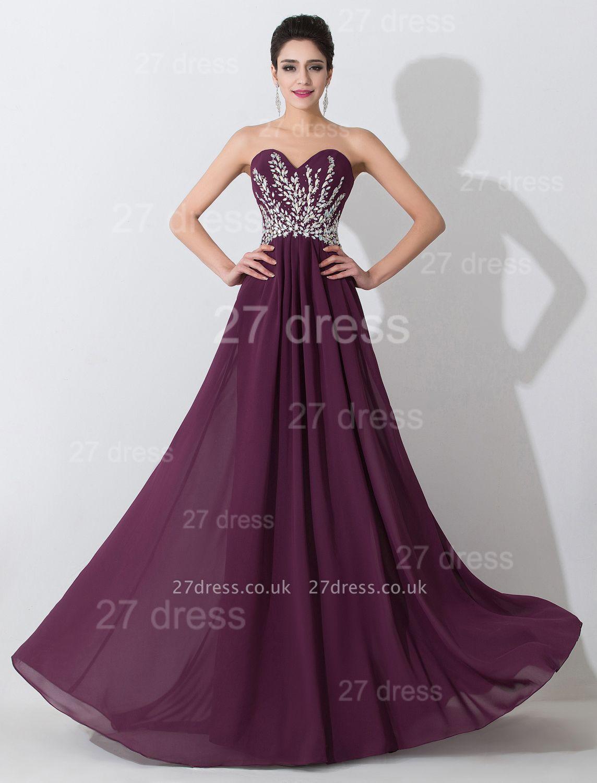 Modern Sweetheart Sleeveless Chiffon Evening Dress UK Crystals Sweep Train