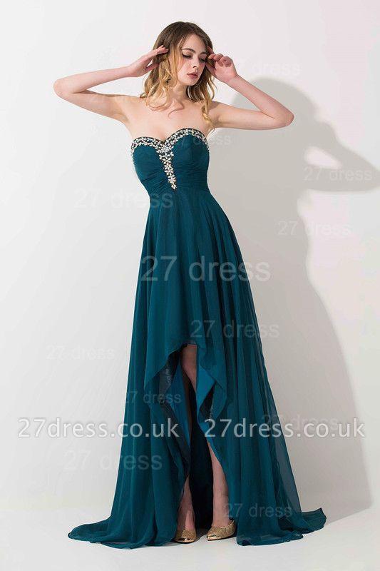 Elegant Hi-Lo Chiffon A-line Evening Dress UK Crystals Sweep Train