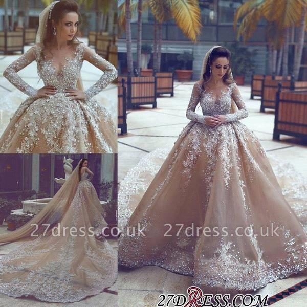 Ball-Gown Appliques Long-Sleeve Luxurious Beadss Wedding Dress