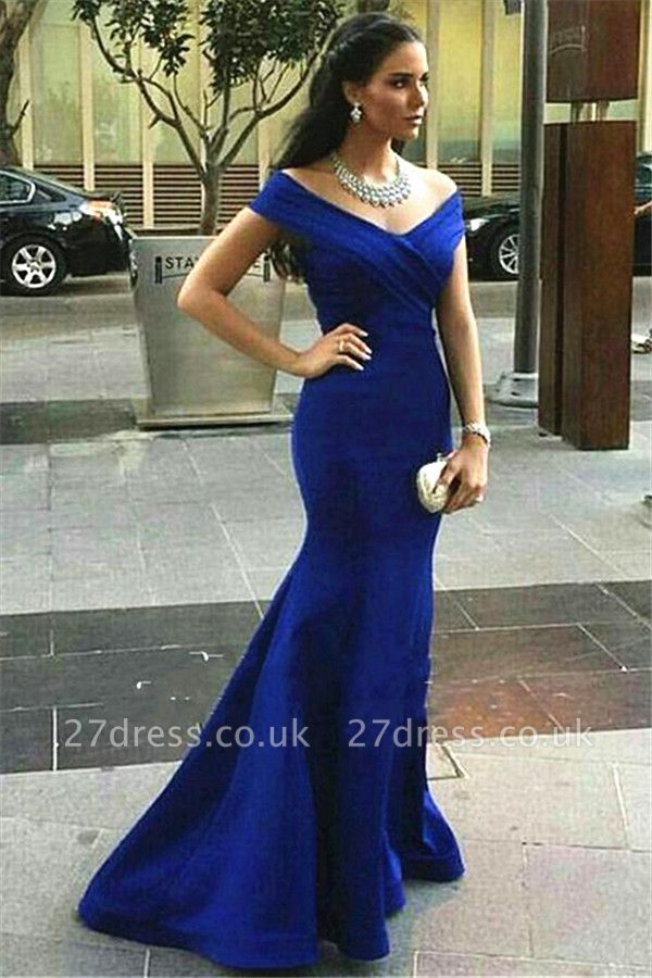Sexy Royal Blue Mermaid Prom Dress UK Off-the-shoulder Sweep Train