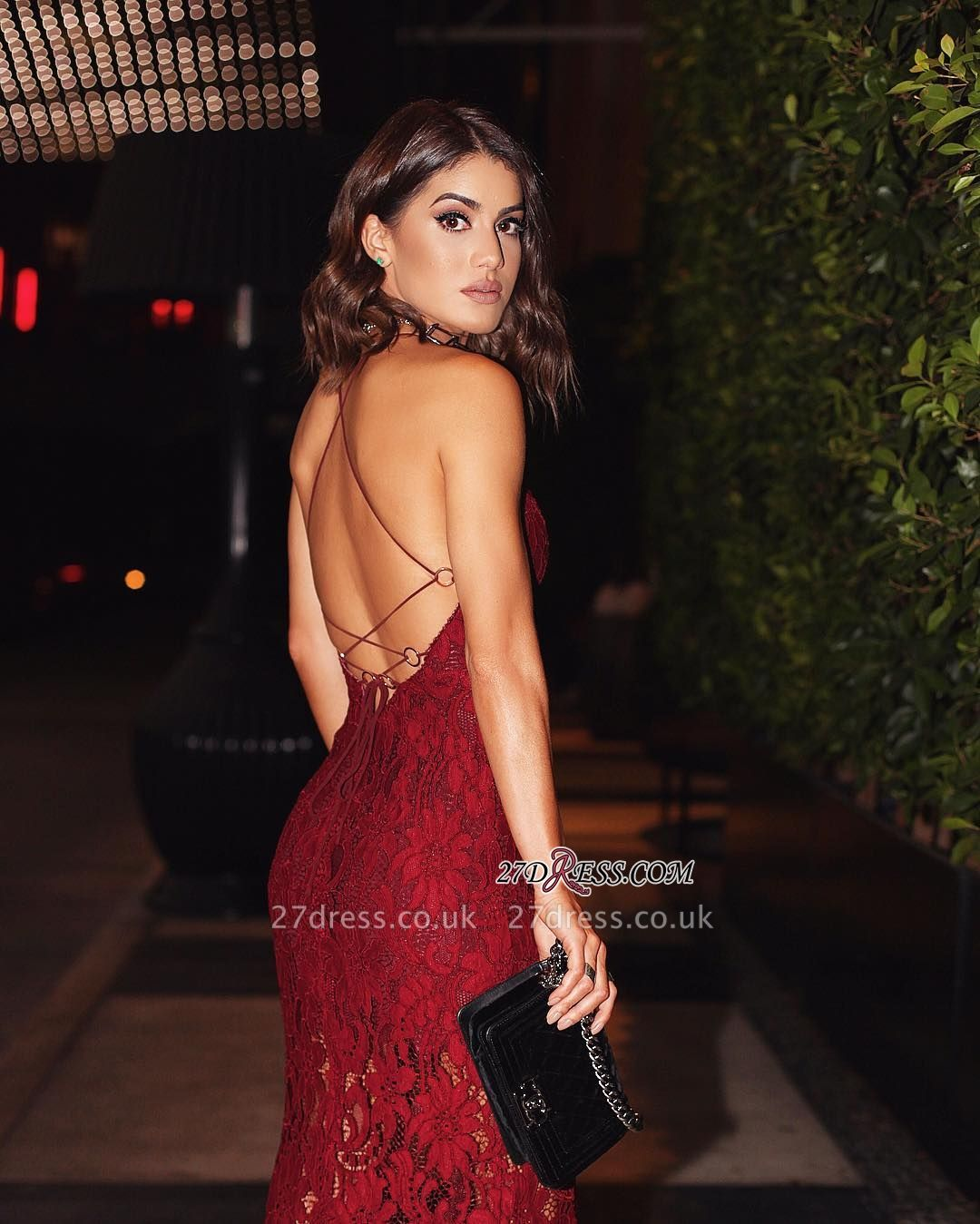 Backless Burgundy Two-straps Elegant Lace Prom Dress UK BA6784