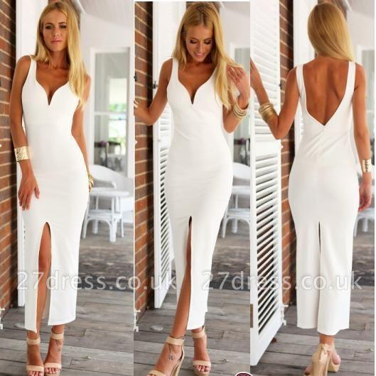 White Spaghetti-Strap Natural Open-Back Elegant Sheath Evening Dress UKes UK