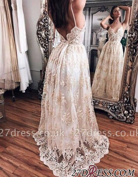 Floor-Length Hot Lace Newest Backless Champagne Evening Dress UK BA5064