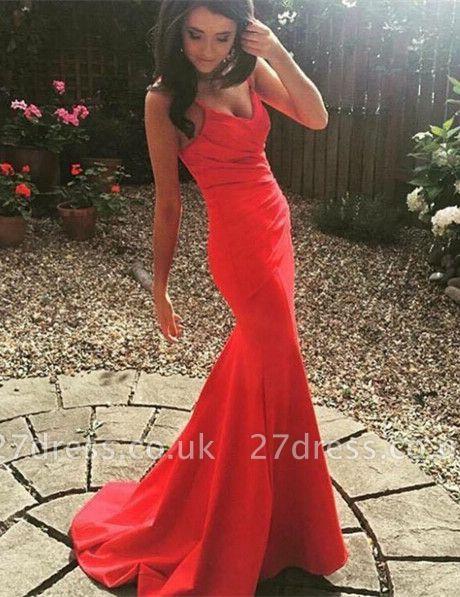 Classic Spaghetti Straps Evening Dress UKes UK Mermaid Watermelon Prom Gown
