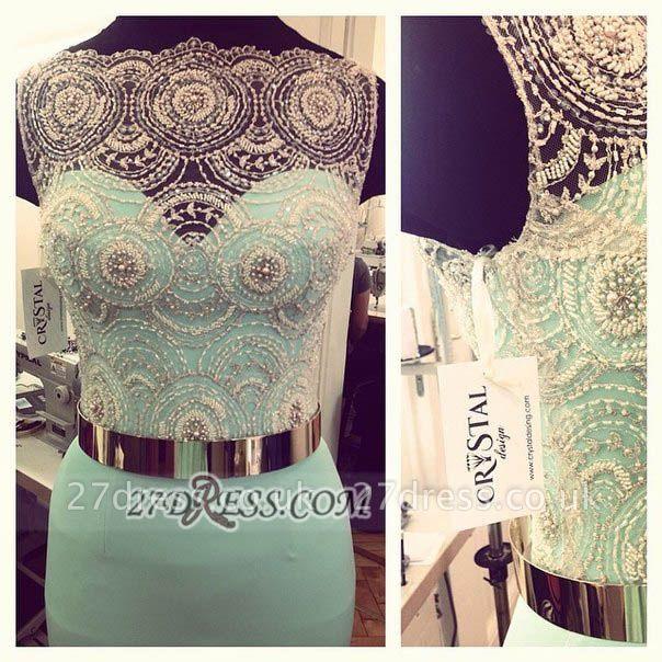 Gorgeous Illusion Sleeveless Chiffon Prom Dress UK With Beadings Golden Sash