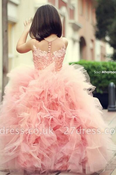 New Pink Chic Ruffles Flower Girl Dresses Ball Gown Sleeveless Formal Party Gowns