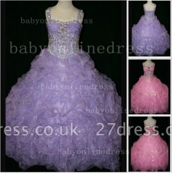 Girls Beauty Pageant Dresses for Girls Affordable Wholesale Beaded Crystal Gowns Flower