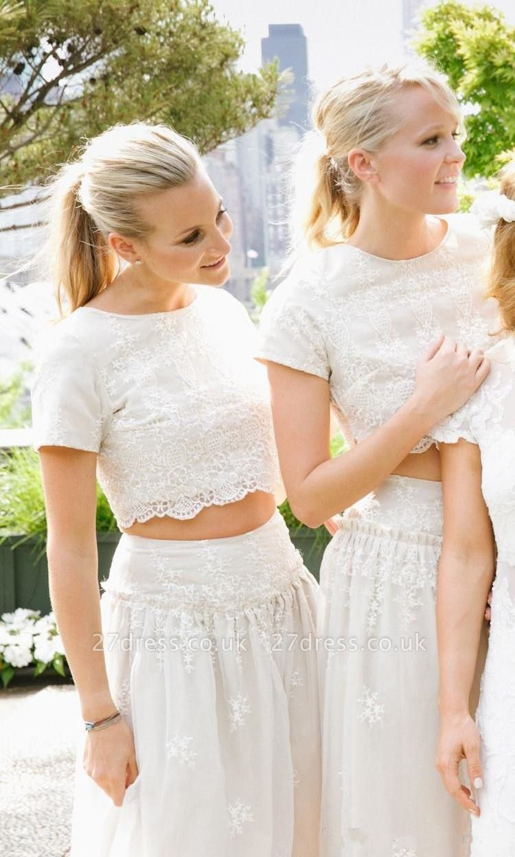 Modern White Two Piece A-line Bridesmaid Dress UK Lace Short Sleeve Jewel