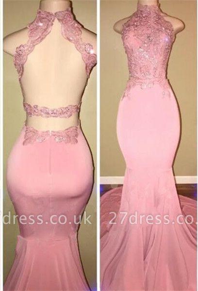 Luxury High Neck Pink Lace 2108 Prom Dress UK Mermaid Long On Sale BA7748