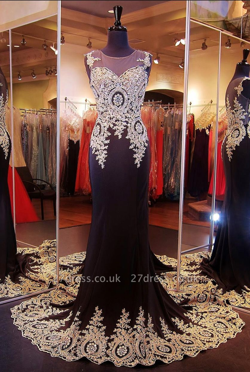 Gorgeous Illusion Cap Sleeve Prom Dress UK With Beadings Appliques