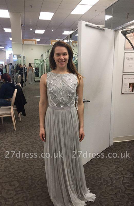 Sexy Beadings Tulle Jewel Prom Dress UK A-line Sleeveless