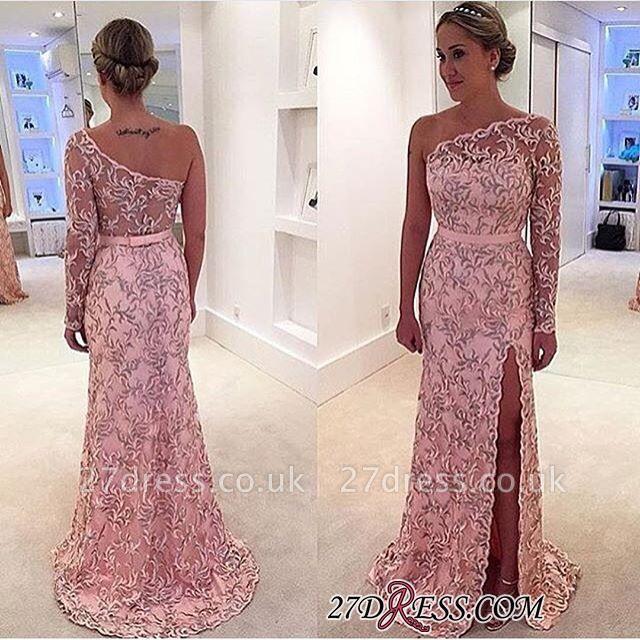 Long One-Shoulder Leaf Pink Pattern Long-Sleeve Prom Dress UK BA4407