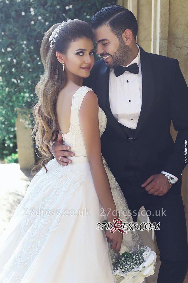Appliques Tulle Square Elegant Ball New Sleeveless Wedding Dresses UK BA4133