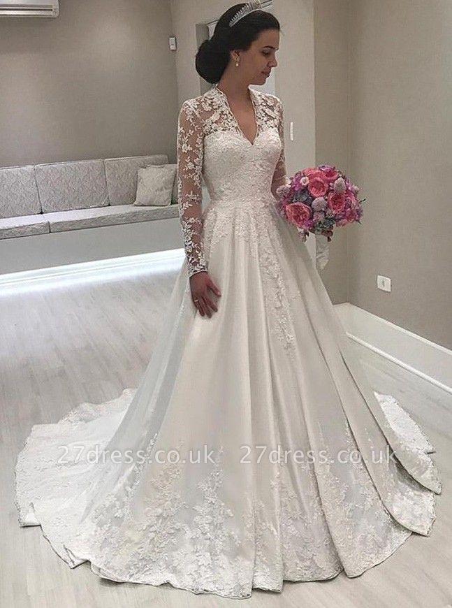 Princess Long Sleeve V-Neck Wedding Dress | 2019 Lace Bridal Gowns On Sale