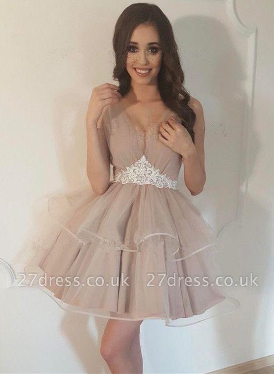 Lovely V-Neck Sleeveless 2019 Homecoming Dress UK | Tulle Short Party Dress UK
