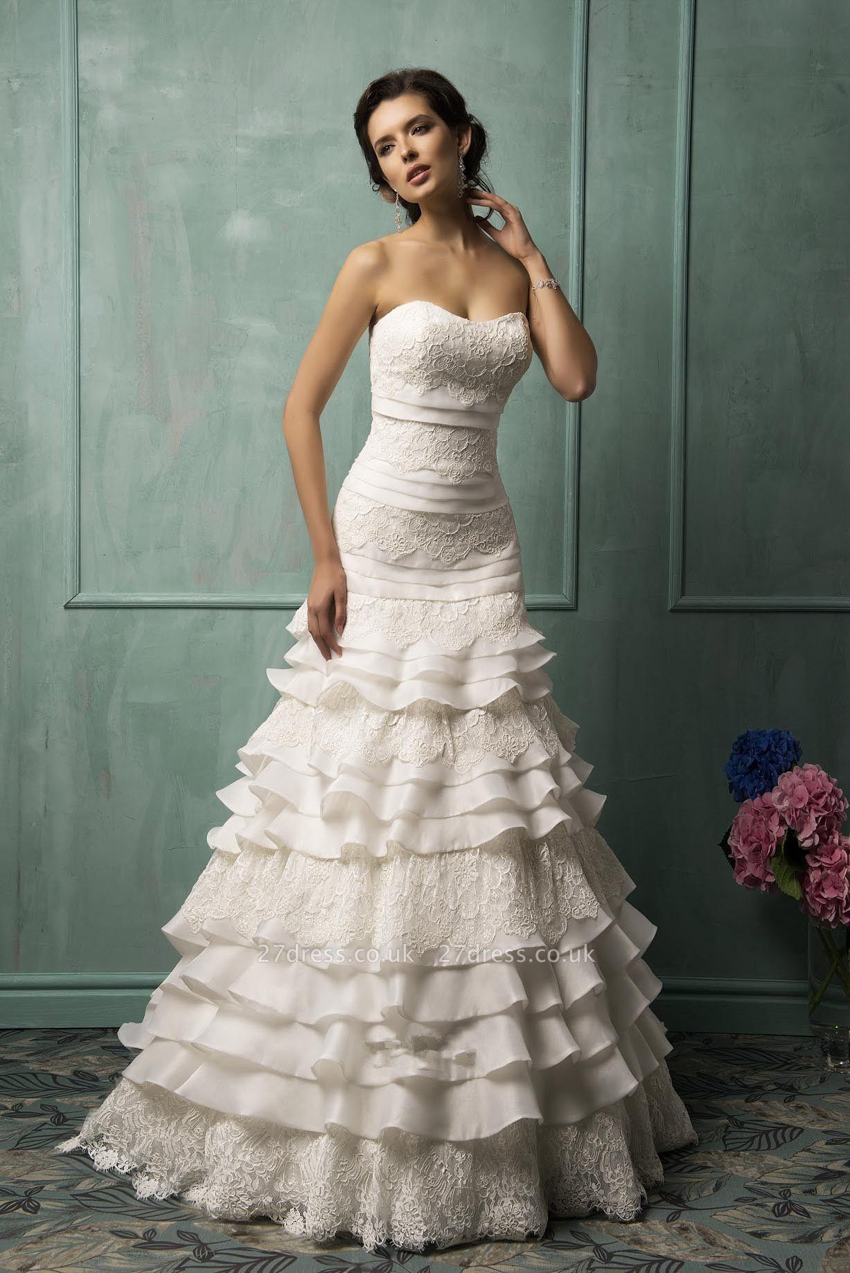 Timeless Sweetheart Sleeveless Lace Wedding Dress With Ruffles