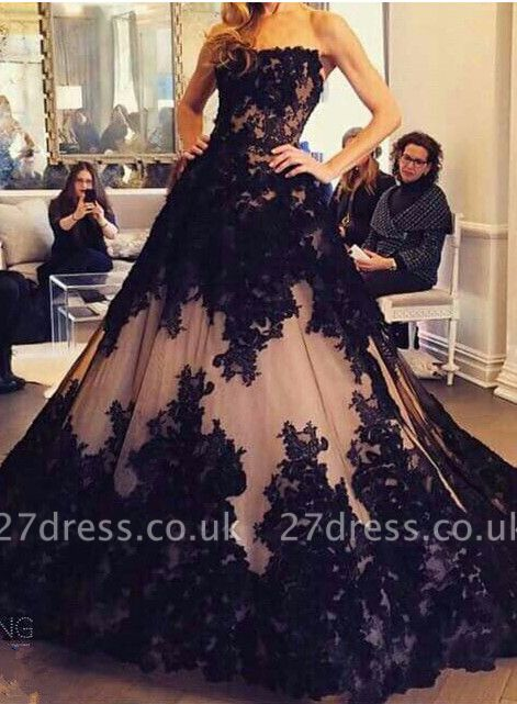 Chic Lace Appliques Ball Gown Evening Dress UK Strapless Sleeveless