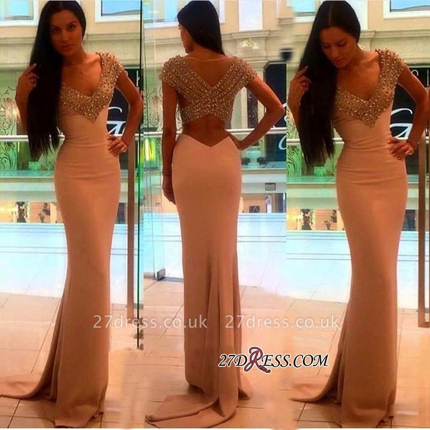 V-Neck Sheath Short-Sleeves Elegant Crystal Prom Dress UK BA4602