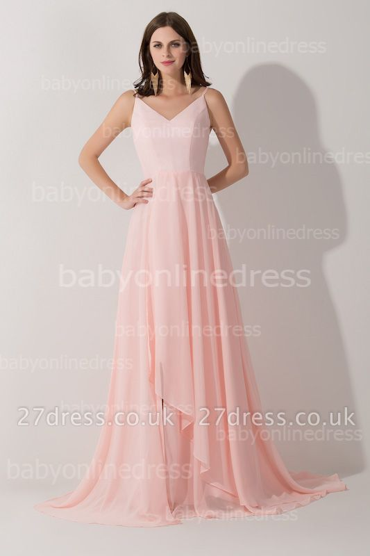 Long V-neck Sexy Prom Dress UK Chiffon sleeveless Evening Gowns