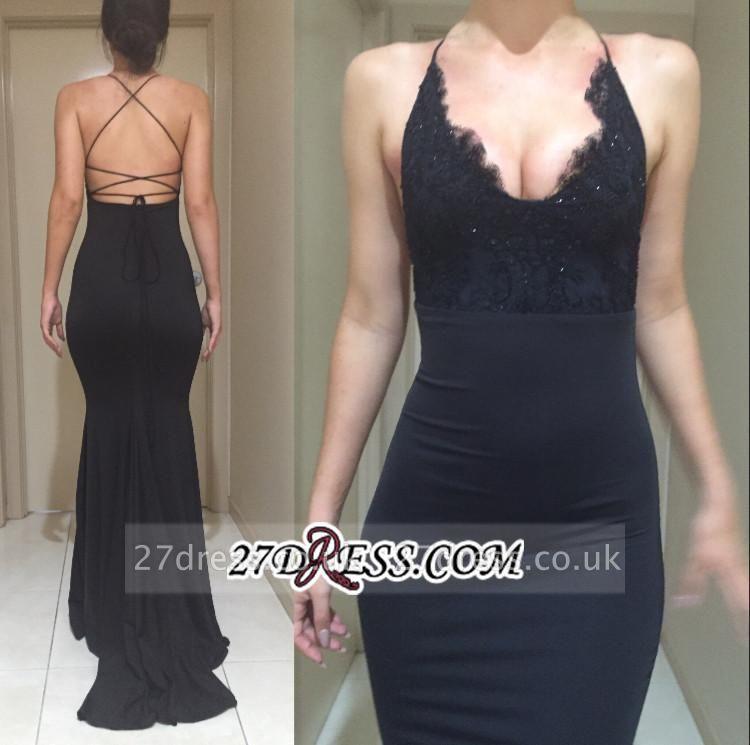 Black Elegant Lace Spaghetti-Straps Mermaid Appliques Evening Dress UK BA4216