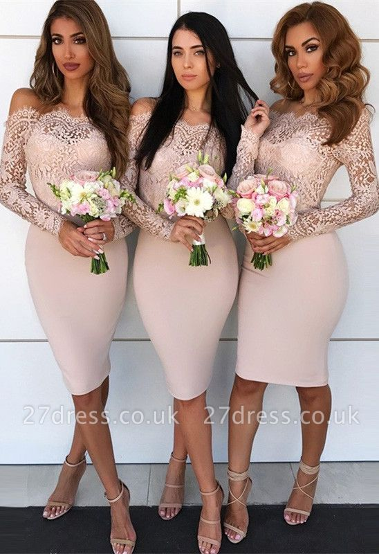 Long-Sleeve Lace Bridesmaid Dress UK | Knee-Length Sheath Maid of Honor Dress UK