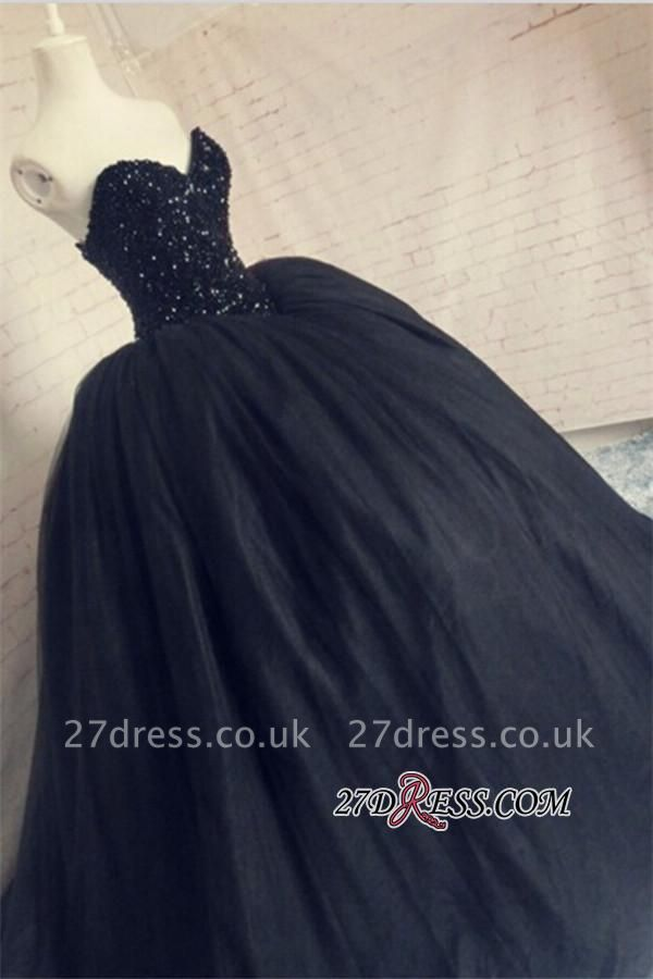 Puffy Beaded Sequins Corset Sparkly Black Amazing Tulle Sweetheart Prom Dress UK