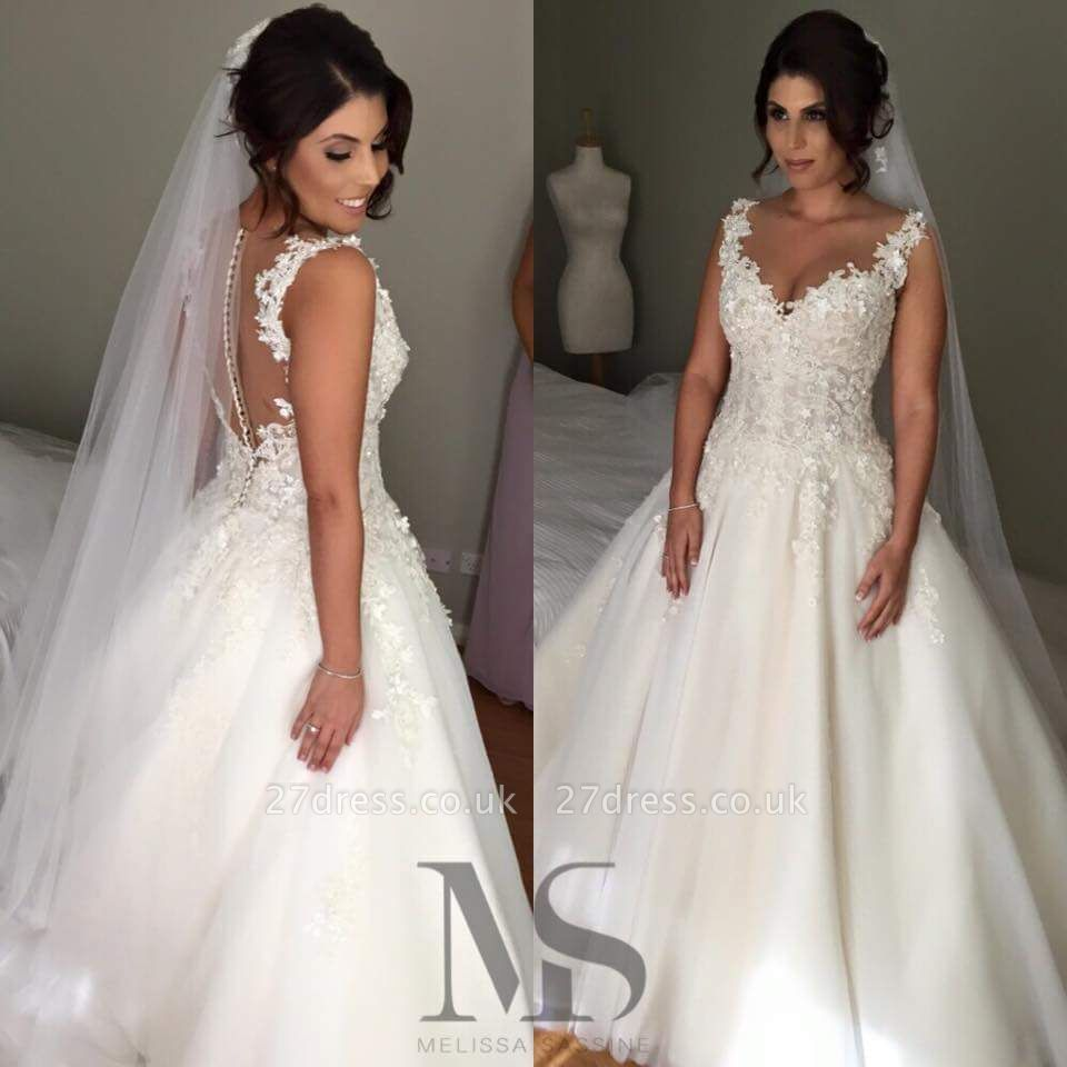 Modern V-neck Sleeveless Tulle Wedding Dress With Lace Appliques
