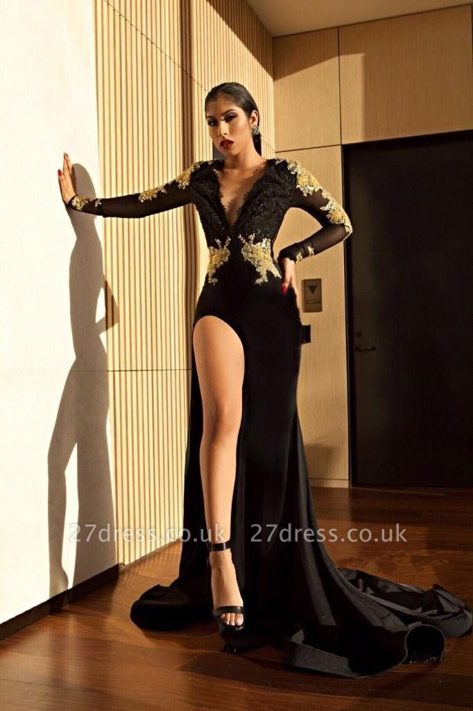Black Long Sleeve Prom Dress UK | Gold Appliques Mermaid Evening Dress UK