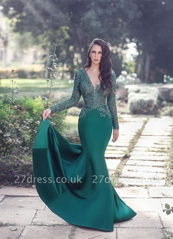 Gorgeous Long Sleeve Evening Dress UK Mermaid With Appliques MH0