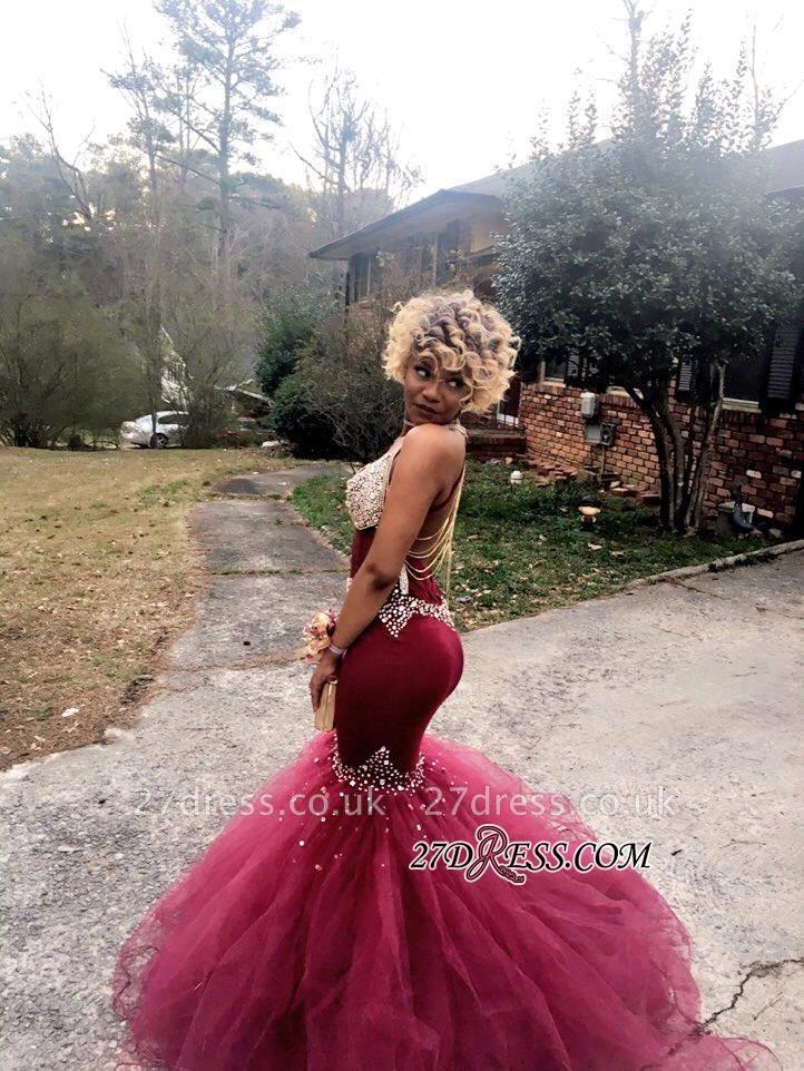 V-Neck Tulle Mermaid Luxury Crystal Prom Dress UK BK0
