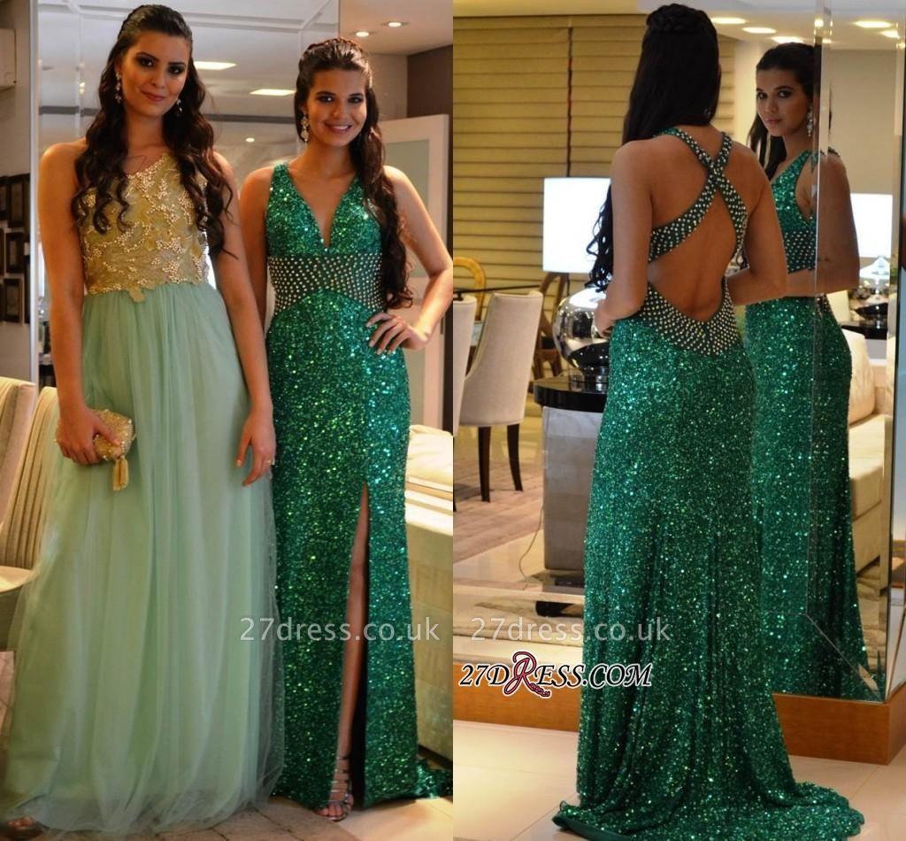 Criss-Cross Green Crystal V-Neck Side-Slit Sequined Prom Dress UKes UK