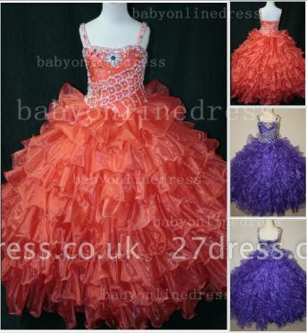 Hot Sale  for Teens Formal Gowns  Beaded  Girls Pageant Dresses With Glitz Straps