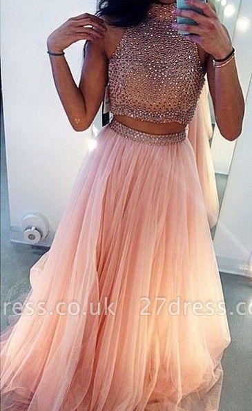 Glamrous High Neck Beadings Prom Dress UK Two Pieces Style BA3656